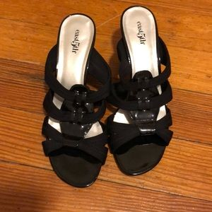 Black slip on heels
